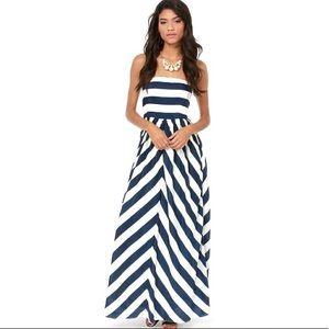 Lulu's Dreamboat Come True Ivory Blue Striped Maxi